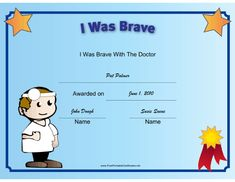 This printable certificate recognizes a child's bravery at the doctor, and is illustrated with a kid doctor. Free to download and print