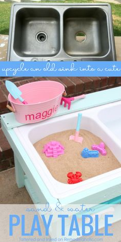 make a kids sand and water table for outdoor sensory play from an old sink, tutorial from Tattered and Inked on (Diy Art Decor) Projects For Kids, Diy For Kids, Crafts For Kids, Sand And Water Table, Water Table Diy, Water Table For Kids, Water Tables, Old Sink, Outdoor Play