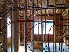 We started and finished the rough in of the upstairs PEX supply lines. It took all of Saturday to plan out where the lines would go but ac. Low Water Pressure, Water House, Bathroom Plumbing, New Homes, Homemade, Easy, Home Made, Hand Made, Do It Yourself