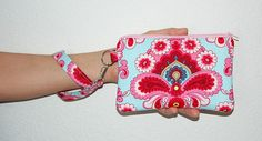 FRENCH WALLPAPER DUCK EGG - Wristlet Purse with Removable Wristlet Strap and 2 Interior Pockets
