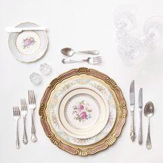Pink & Gold Florentine Chargers + Botanicals & Le Melange Vintage China + Antique Silver Flatware + Czech Crystal Stemware + Antique Crystal Salt Cellars | Casa de Perrin Design Presentation