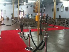 Our team can help you determine how much red carpet you will need for your event. #Atlanta #rental #red #carpet #entrance #VIP #stanchion