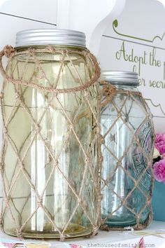 DIY Beachy Extra large mason jars makeover ! The House of Smiths