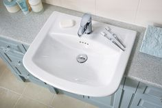 Quantum classical semi-recessed basin with della basin mixer #fittedfurniture #bathroomfurniture #myutopia