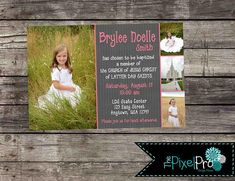 Floral Baptism invitation, girl baptism invitation, LDS girl baptism invite, flower LDS invitation for baptism, LDS church baptism invite Baptism Invitations Girl, Pink Invitations, Girl Baptism, Baptism Ideas, Free Thank You Cards, Looking Online, Lds Church, Special Day, Reception