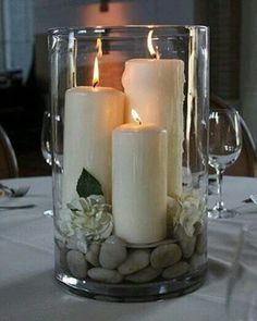 Candle and rocks centerpiece