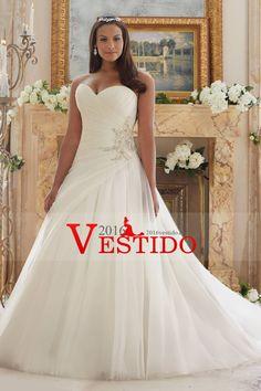 2016 Tamaño de novia vestidos de novia Plus con volantes y granos de encaje de tul hasta