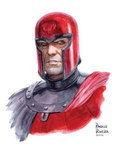"""paolo-rivera: """"MAGNETO. 2016. Watercolor on paper, 9 × 12″. I'll be at the San Francisco Comic Con this weekend, table B4 in Artist Alley. I'll be selling my prints and books, but will be happy to..."""
