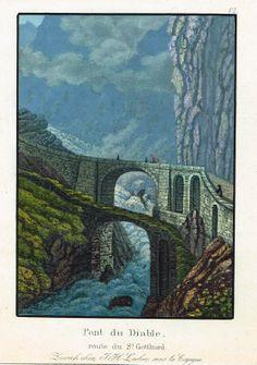 Pont du Diable - route du St Gotthard - Zurich chez J.H. Locher, sous la Cigogne - Aquatinte XIXe - MAS Estampes Anciennes - MAS Antique Prints