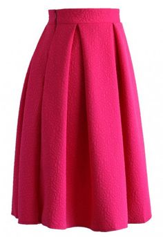 Nothing says romance, giggles and kisses quite like a bold midi skirt in a rich lip gloss-worthy color! Its flared hemline, simple pleat, embossed roses and beautiful, pink hue make it the perfect addition to your closet! - Roses pattern embossment all over - Side zip closure  - Lined - 55% Cotton, 45% Polyester - Machine wash cold Size(cm)   Length   Waist XS                64           64 S                  64           68 M                 64            74 L                  64        …