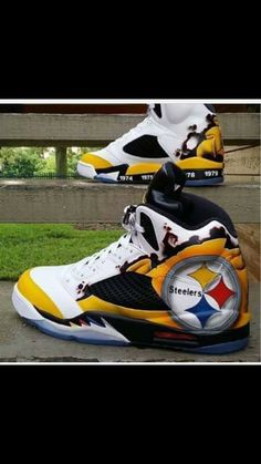 d6c2279ebca Omg Miles would love be these...we went to a Steekers game . Jordan 5s..  Steelers.shut up.