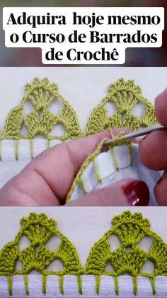 Crochet Edging Patterns, Crochet Lace Edging, Crochet Flower Tutorial, Crochet Leaves, Diy Crochet, Crochet Doilies, Crochet Flowers, Crochet Videos, Crochet Projects