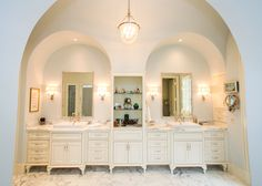 Projects | Village Cupboards Stunning master bath vanities with arches above