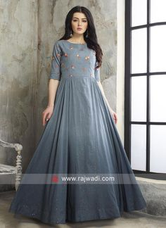 Cotton Shaded Party Wear Anarkali Suit... Casual Gowns, Pakistani Dresses Casual, Indian Gowns Dresses, Prom Dresses, Cotton Long Dress, Long Gown Dress, Lehnga Dress, Girls Dresses Sewing, Stylish Dresses For Girls