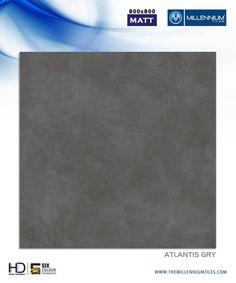 "Millennium Tiles 800x800mm (32x32) Vitrified Matt Porcelain XL Tiles Series ""Atlantis Gry"""