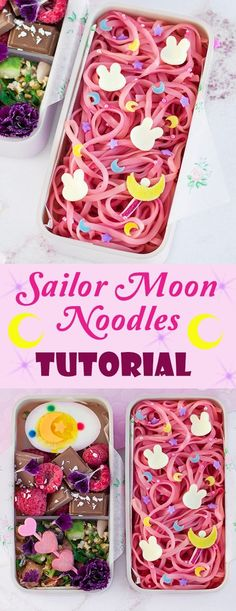 Sailor Moon Noodles Bento Box Learn exactly how to make this gorgeous character bento box thats fit for a moon princess Featuring super easy naturally colored pink noodl. Bento Kawaii, Cute Bento Boxes, Bento Box Lunch, Lunch Meals, Lunches, Lunch Boxes, Japanese Bento Box, Japanese Food, Cute Food
