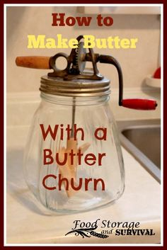 Want to start making your own butter?  For our Thanksgiving meal this year, we made our own butter using my grandma's butter churn.  Just takes time, a little work, and some butter magic. :)