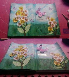 Pag 12. Flores y mariposas para el reto scrap lowcost