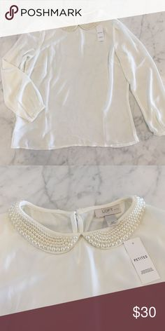 NWT Loft pearl-collar blouse White silky blouse with a pearl-covered collar. New with tags! Size Medium Petite! LOFT Tops Blouses