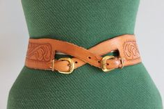 Vintage Belt / 1950s Tooled Leather Belt / 50s Wide by HolliePoint
