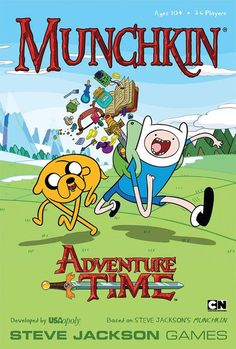 """In Munchkin Adventure Time, players can help Finn, Jake, Lumpy Space Princess, and friends navigate the perils – and the rewards! – of the Land of Ooo. Will """"Oh my glob – look out!"""" be the last thing Adventure Time fans hear from Princess Bubblegum? Or will Finn and Jake save the day with a sturdy sword and a hearty """"Slamacow!""""?  Munchkin Adventure Time is both a standalone game and an expansion for other titles in the vast Mun..."""