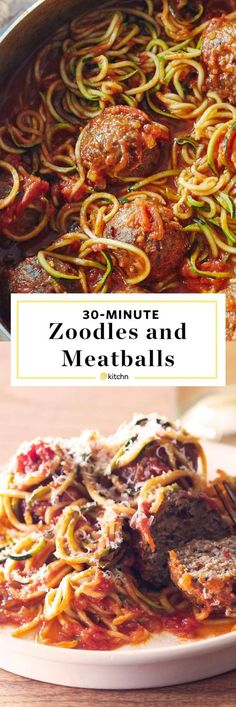 30 minute meals: one pot zoodles and meatballs recipe The beauty of using spiralized zucchini noodles as a healthy or 30 substitute for pasta is how QUICK FAST and EASY they are to cook. Fresh zoodles and frozen cooked meatballs means th Zucchini Noodles Spaghetti, Cook Zucchini Noodles, How To Cook Zucchini, Zucchini Noodle Recipes, Zoodle Recipes, Spiralizer Recipes, Spaghetti Sauce, Recipe Zucchini, Zucchini Spirals Recipes