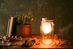Mason Jar Lighting Glass Lamp Night Light or Desk Lamp - Minimalist Design from LukeLampCo on Etsy : )