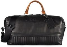 Black Leather Holdall: Quilted Leather Duffel Bag by Ralph Lauren. Sold by Ralph Lauren. Leather Duffle Bag, Quilted Leather, Leather Men, Black Leather, Leather Bags, Mens Travel Bag, Travel Bags, Travel Packing, Fashion Bags
