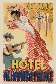 Poster Vintage Hotel Alhambra Palace Granada by KKEN Art & Design Cadiz, Illustrations Vintage, Vintage Hotels, Travel Ads, Voyage Europe, Vintage Travel Posters, Vintage Luggage, Poster Vintage, Vintage Advertisements