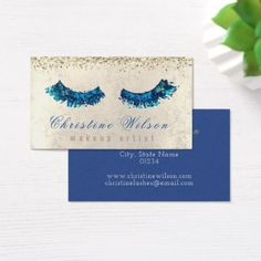 faux glitter mermaid blue lashes makeup artist business card - diy cyo customize create your own personalize