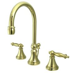 Elements of Design Widespread Bathroom Faucet with Double Lever Handles Finish: Polished Brass
