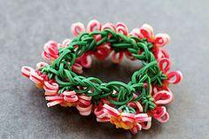 Flower-Charm-Bracelet-Underside (YarnJourney) Tags: flower rainbow bracelet loom rubbberband