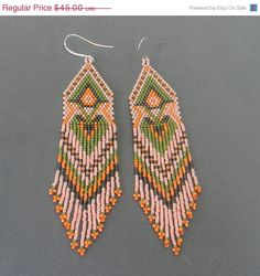 Pale peach  seed bead earrings - peyote earrings with fringe