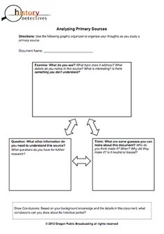 Here's a graphic organizer on analyzing primary sources.