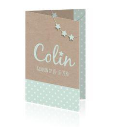 Lief en trendy geboortekaartje met sterren-slinger, sterren, kraftpapier en mint voor een jongen.