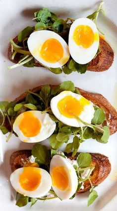 soft boiled eggs with watercress and walnut-ricotta