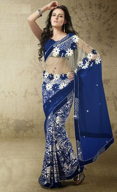 USD 61.89 Blue Net Printed Party Wear Saree 42416