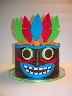 Luau Tiki Head Cake