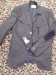 Just $79 - was $395   ~ W.R.K NYC Mens Midnight Black Elbow Patch Blazer Jacket Coat Cargo NEW $395 42  #WRK #ThreeButton