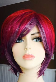 Daiya // Red Pink and Purple Ombre Full Synthetic Wig