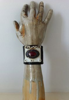 Black Leather Cuff with Clay and Red Glass by clayrox on Etsy, $65.00