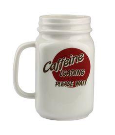 MASON JAR COFFEE MUG CERAMIC CAFFEINE LOADING 20OZ COLLECTIBLE BARBUZZO  #Barbuzzo