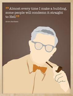 Grafisk plakat med med Arne Jacobsen og citat
