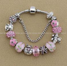 Authentic PANDORA Silver Bracelet with European Charms Pink 18cm 19cm 20cm #Pandora #European