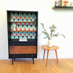 Storage cabinet bookcase chest of drawers mid by ChouetteFabrique.very cool mid century pieces brought back to life.but only sold in France. Small Furniture, Retro Furniture, Recycled Furniture, Paint Furniture, Furniture Makeover, Large Drawers, Chest Of Drawers, Deco Retro, Vintage Interiors