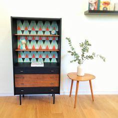 Meuble de rangement, bibliothèque, commode, vintage, années 60, coloris noir, modèle Péroline
