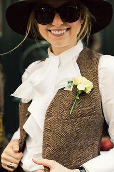 tweet vest + ruffle blouse