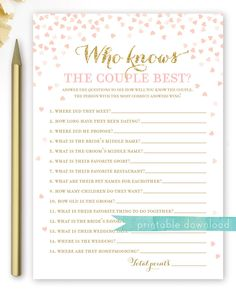 Excited to share the latest addition to my #etsy shop: Who Knows the Couple Best . Pink and Gold Bridal Shower Game . Printable Bridal Shower Games . Instant Download . Gold Glitter Pink Hearts
