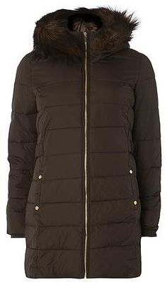 Womens dark brown puffa jacket from Lipsy - £90 at