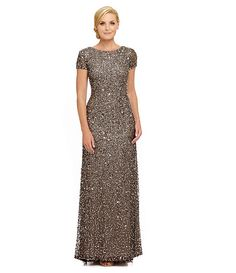 Lead:Adrianna Papell Short-Sleeve Sequined Gown